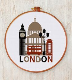 Retro London cross stitch pattern easy design beginner instant download