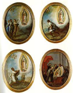 Miguel Mateo Maldonado y Cabrera, Medallones con las cuatro apariciones de la Virgen de Guadalupe, óleo sobre tela c/u, sin medidas, 1752, colección no identificada, catalogación: Juan Carlos Cancino.
