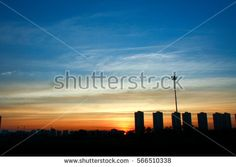 building with sunset.
