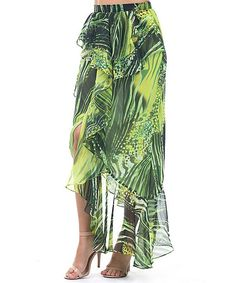 Green Abstract Ruffle-Trim Hi-Low Skirt