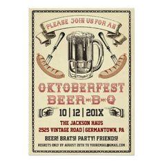 "Vintage Oktoberfest Beer-B-Q Party Invitation 5"" X 7"" Invitation Card"
