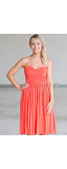 Lily Boutique Rosalee Strapless Midi Dress in Orange Coral, $36 Orange Coral Midi Dress Online, Cute Orange Dress Online, Orange Sundress www.lilyboutique.com