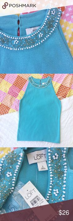 """S / Ann Taylor LOFT teal halter sweater top NWT NWT! ✨ Halter style sweater top w/ beadwork at the collar. Pop of blue to brighten your winter wardrobe! Perfect for layering!   SIZE: S waist: 15.5"""" length: 24.5""""  ❌ no trades ✔️offers welcome! ❣️add to bundle for **discounted** shipping offer! LOFT Tops"""