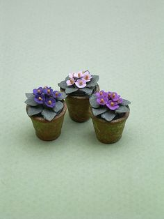 3 African Violets Paper Flower Kit for by TheMiniatureGarden