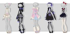 Gachapon outfits 14 by kawaii-antagonist on DeviantArt Dark Fashion, Fashion Art, Fashion Design, Character Drawing, Character Design, Anime Outfits, Cute Outfits, Anime Girl Dress, Chibi Kawaii