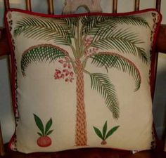 Palm Tree Cushion made from Colefax and Fowler linen. Made as a size of 14 inches square Cream Cushions, Shades Of Green, Linen Fabric, Palm Trees, Throw Pillows, Texture, Red, Color, Palm Plants