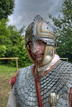 An example of a Late Roman helmet. The design was based on types used by the Sassanids of Persia.