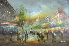"Oil Mão-pintura Pintura 36 ""x24"" PB23 Paris Rua Cidade"