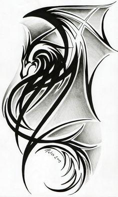 celtic dragon tribal tattoos | Dragon tattoo II. by *Tatsu87 on deviantART: