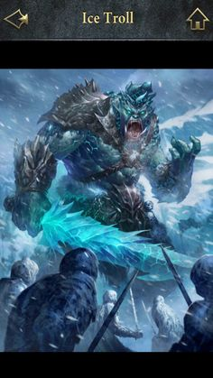 Lore: A furious beast, blindly obeys to his master. The ice troll smashes the body of his enemies until they become a blood stain.