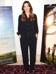 Jennifer Garner in a black jumpsuit
