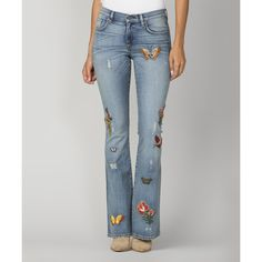 MM Vintage Light Wash Floral Embroidered Flare Jeans ($53) ❤ liked on Polyvore featuring jeans, flower embroidered jeans, flared jeans, floral embroidered jeans, light wash jeans and light wash flare jeans