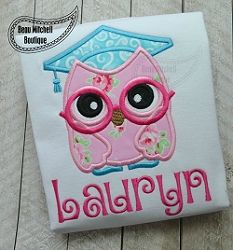 Graduation Owl Applique - 4 Sizes! | What's New | Machine Embroidery Designs | SWAKembroidery.com Beau Mitchell Boutique