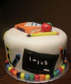 School Cake by Kristie M of Birthday Cakes 4 Free, San Antonio, TX. Fancy Cakes, Cute Cakes, Beautiful Cakes, Amazing Cakes, Teacher Cakes, School Cake, Retirement Cakes, Animal Cupcakes, Fondant