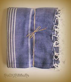 Denim blue organic cotton handwoven pestemal hammam towel $30.00.