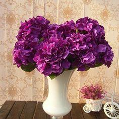 "SoooKu Artificial Hydrangea Flower 5 Big Heads Bounquet (Diameter 7"" each head) 7 Colors Avaliable"