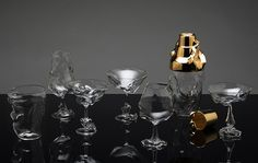 shown together with the video animation, geoffrey mann\'s glass cocktail service gives a physical manifestation to this fleeting conversation.