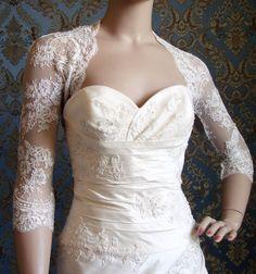 3/4 Sleeve or Long Sleeve Italian Lace Bridal Bolero Jacket Shrug by IHeartBride Adonis Elysia. $269.00, via Etsy.