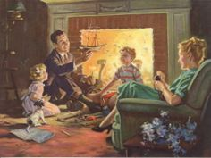 "Hy Hintermeister Family Building Sailing Ship Fireplace Puppie 8""x6"" Print 1940s"