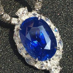Stunning Sapphire and Diamond Necklace by Blue Sapphire Necklace, Diamond Pendant Necklace, Diamond Necklaces, Sapphire Jewelry, Diamond Jewelry, Jewelry Necklaces, Love Necklace, Silver Diamonds, Beautiful Necklaces