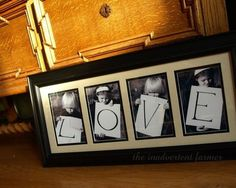 Kids hold letter to spell: great gift idea. I've used the same idea but with the family to spell out our last name. I've also had the kids use sign language to spell out L O V E for pictures. Super cute gifts that family will love. Idee Cadeau Grand Parent, Cadeau Grand Parents, Cadeau Parents, Mothers Day Crafts, Crafts For Kids, Photo Projects, Craft Projects, Craft Gifts, Diy Gifts