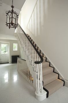 Holland Park original staircase with French polished banister and stair runner and marble hallway of period home Diy Stair Railing, Porch Stairs, Stair Decor, House Stairs, Staircase Design, Stair Rods, Modern Staircase, Carpet Staircase, Staircase Runner