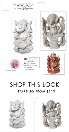Good Luck Ganesha Stone Statue by tarini-tarini on Polyvore featuring WALL