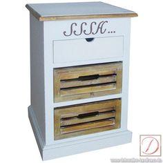 """Beistelltisch Nachtschrank PROVENCE weiß H 66cm - Schöne Kommode mit der Aufschrift """"SSSH"""" aus Holz und Faserholz gefertigt in antikweiß, mit 2 Holzschüben und 1 Schublade."""