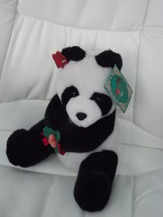 Vintage Soft Panda bear  tagged by Applause by BunkysVintageCrafts