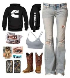 A fashion look from January 2018 featuring ripped jeans, nike sports bra and nocona belts. Browse and shop related looks. Cowgirl Style Outfits, Western Outfits Women, Country Style Outfits, Southern Outfits, Country Wear, Camo Outfits, Country Fashion, Preppy Outfits, Mode Outfits