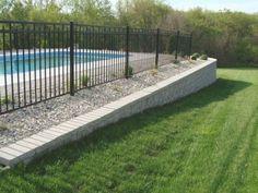 Backyard Retaining Walls, Sloped Backyard, Swimming Pools Backyard, Ponds Backyard, Swimming Pool Designs, Backyard Ideas, Retaining Wall Fence, Fence Ideas, Pool Decks