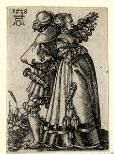 A dancing couple; standing back to back; the woman at r in profile to r; the male figure at l in profile to l; from a series of eight engravings. 1538 Engraving
