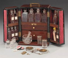 A 19th-century mahogany domestic medicine chest