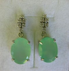 """42.15 CT G&SNatural Green Onyx WGP over Sterling 925 Silver Earrings 1.25"""" Drop #Handmade #DropDangle"""