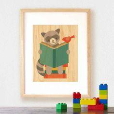 Petit Collage Reading Raccoon - Print on Wood