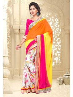 Pink Off White Yellow Georgette Lovely Casual Saree