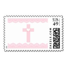 Pink Heart Cross Baptism Christening Postage