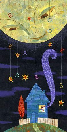 Book worm   Reading night / Lectura nocturna (ilustración de Rafael López)