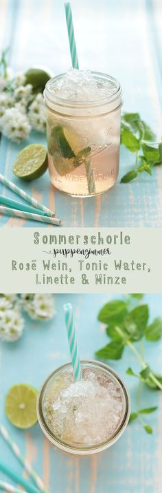 Sommerschorle mit Rosé, Tonic Water, Limette und Minz drinks and cocktails Sommerschorle mit Rosé, Tonic Water, Limette und Minze Fancy Drinks, Cocktail Drinks, Yummy Drinks, Cocktail Recipes, Alcoholic Cocktails, Smoothie Drinks, Smoothie Recipes, Smoothies, Smoothie Mixer