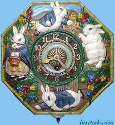 Lux 8-day juvenile wall rabbit clock  (Nursery rhime clock) Circa 1927