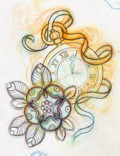 Risultati immagini per pocket watch tattoo Watch Tattoos, Time Tattoos, Music Tattoos, Ribbon Tattoos, Flower Tattoos, Grandfather Clock Tattoo, Clock Tattoo Design, Shape Tattoo, Tattoo Stencils