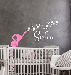 Name Wall Decals Personalized Name Vinyl Decal Elephant Art Sticker Name Nursery Decal Bedroom Decor Nursery Decals, Name Wall Decals, Vinyl Decals, Sticker, Vinyl Store, Elephant Art, Textured Walls, Cute Designs, Art Inspo