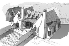 Innovative sketches and dreamworks by McCown Design Architectural Design House Plans, Architectural Drawings, House Drawing, Country House Plans, Classic House, Exterior Design, Exterior Homes, Architecture Details, Dreamworks