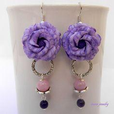Flower earrings  Lilac earrings  Romantic earrings by insoujewelry