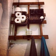 DIY crate towel hanger