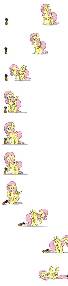 Fluttershy and the Pineapple by Graciegirl328.deviantart.com on @deviantART