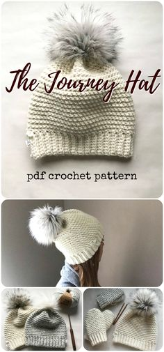 The Journey Hat crochet pattern with beautiful fur pompom and a little bit of slouch. I love these kinds of hats! So trendy right now. I need some pompoms!!! #etsy #ad # #pdf #crochet #pattern #diy