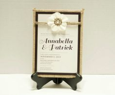 Country chic invitation with burlap wrapped matte by Paper & Lace  Paperandlacecreations@gmail.com