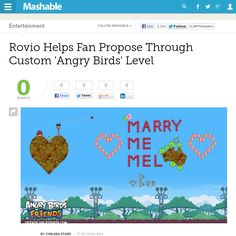 http://mashable.com/2013/05/07/angry-birds-proposal/ #Mashable: Rovio Helps Fan Propose Through Custom Angry Birds Level | #Indiegogo #technology #fundraising #perks http://igg.me/at/tn5/