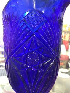 Vintage cobalt blue glass pitcher, water pitcher on Etsy, $45.00